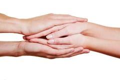 Mãos de dobramento para pêsames Fotografia de Stock Royalty Free