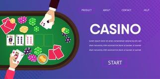 Mãos de jogo do crouoier do homem do jogador do casino da tabela ilustração do vetor