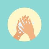 Mãos de lavagem com a palma do sabão à ilustração redonda do vetor da palma ilustração stock