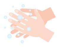 Mãos de lavagem com sabão Higiene da mão ilustração do vetor