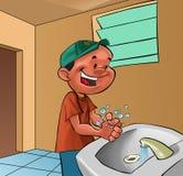 Mãos de lavagem do menino Imagens de Stock Royalty Free