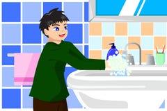 Mãos de lavagem do menino com sabão Fotografia de Stock Royalty Free