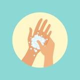 Mãos de lavagem, foco na ilustração redonda do vetor da palma ilustração stock