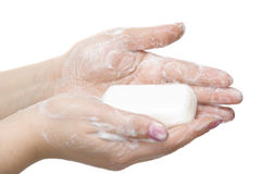 Mãos de lavagem isoladas no branco imagem de stock