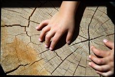 Mãos de madeira da textura e da criança Imagem de Stock Royalty Free