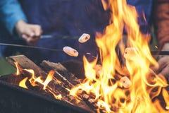 Mãos de marshmallows da repreensão dos amigos sobre o fogo em uma grade Fotos de Stock Royalty Free