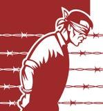 Mãos de olhos vendados do prisioneiro amarradas ilustração royalty free