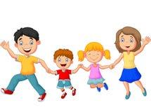 Mãos de ondulação da família feliz dos desenhos animados Fotografia de Stock Royalty Free