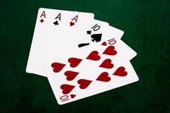 Mãos de pôquer - casa completa - áss e dez Fotografia de Stock Royalty Free