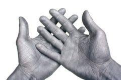 Mãos de prata imagem de stock royalty free