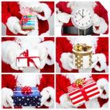 Mãos de Santa Claus com presente collage foto de stock royalty free