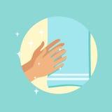 Mãos de secagem com uma ilustração redonda do vetor de toalha ilustração royalty free