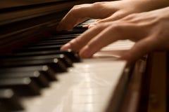 Mãos de um pianista Fotos de Stock Royalty Free