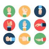 Mãos diferentes em poses da ação Imagens do vetor em quadros coloridos ilustração do vetor
