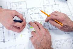 Mãos do arquiteto Fotografia de Stock Royalty Free