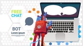 Mãos do bot do bate-papo usando o laptop, o auxílio virtual do robô do Web site ou aplicações móveis, artificiais ilustração stock