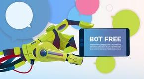 Mãos do bot do bate-papo usando o telefone esperto da pilha, o auxílio virtual do robô do Web site ou aplicações móveis, artifici ilustração do vetor