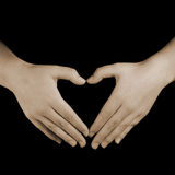 Mãos do coração do amor Foto de Stock