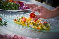 Mãos do cozinheiro chefe que decoram a flor no prato do ceviche fotos de stock