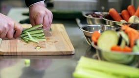 Mãos do cozinheiro masculino que desbastam o pepino na cozinha video estoque