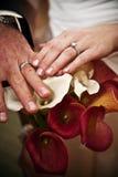 Mãos do dia do casamento Imagens de Stock