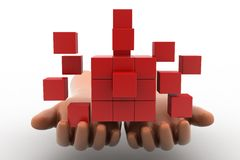 mãos do homem 3d - desenvolvimento sustentável com conceito do cubo Imagens de Stock Royalty Free