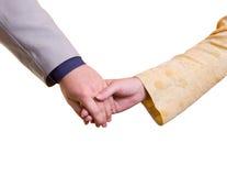Mãos do homem e da mulher Fotografia de Stock