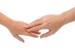 Mãos do homem e da mulher Foto de Stock