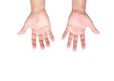 Mãos do homem isoladas no fundo branco; trajeto de grampeamento Foto de Stock Royalty Free
