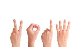 Mãos do homem que formam o número 2014 Fotos de Stock