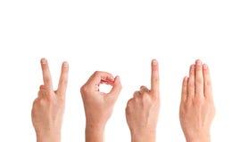 Mãos do homem que formam o número 2014 Fotos de Stock Royalty Free