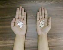Mãos do homem que guardam as medicinas que mostram a diferença entre homeopaticamente e allopathic fotos de stock