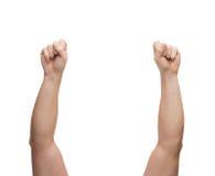 Mãos do homem que mostram a mão no punho Imagem de Stock