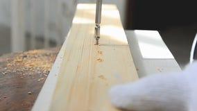 Mãos do homem que usa o perfurador bonde para girar o parafuso à madeira video estoque