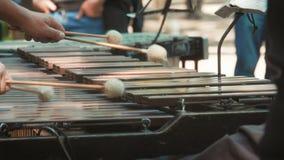 Mãos do músico que jogam o vibrafone na rua Fim do vibrafone do instrumento de música acima video estoque