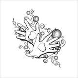 Mãos do ornamento dois dois corações ilustração stock