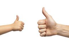 Mãos do pai e do filho que dão como no fundo branco Foto de Stock