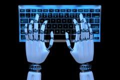 mãos do robô 3d que datilografam no teclado, teclado numérico Cyborg robótico da mão que usa o computador 3D rendem a ilustra??o  ilustração do vetor