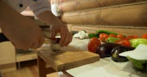 Mãos do ` s do cozinheiro chefe Homem na roupa branca que desbasta vegetais Pimento, tomate, pepino e verde frescos no fundo vídeos de arquivo