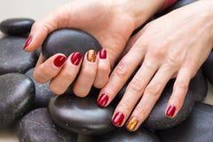 Mãos do ` s das mulheres com um tratamento de mãos agradável foto de stock royalty free