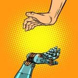 Mãos do ser humano e do robô Gesto da apresentação ilustração stock