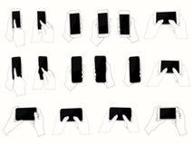 Mãos do vetor que guardam o móbil Foto de Stock Royalty Free