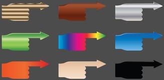 Mãos do vetor - setas Imagem de Stock
