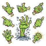 Mãos do zombi dos desenhos animados ajustadas para o projeto do horror Fotos de Stock
