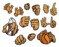 Mãos dos desenhos animados em uma variedade de gestos Imagens de Stock