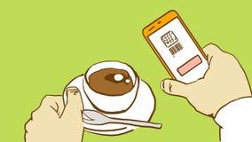 Mãos dos desenhos animados que guardam a xícara de café e o telefone celular com código feito a varredura de QR Fotos de Stock Royalty Free