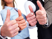 Mãos dos executivos com polegares Imagem de Stock Royalty Free