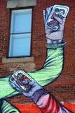 Mãos dos jogadores de cartões da arte da rua Imagens de Stock Royalty Free