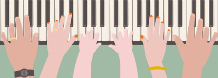 Mãos dos membros da família que jogam o piano ilustração stock
