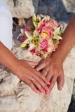 Mãos dos Newlyweds fotografia de stock royalty free